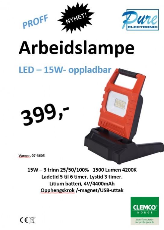 LED – 15W- oppladbar