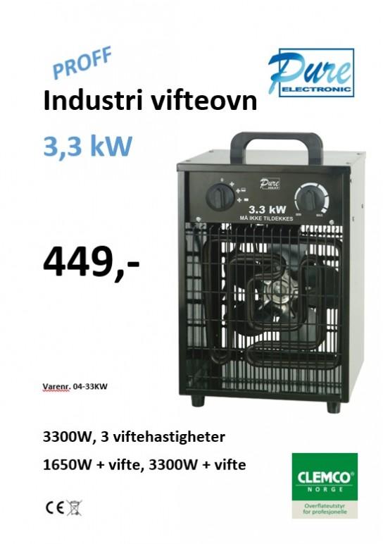 Industri vifteovn 3,3kW